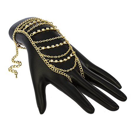 Goldtone Adjustable Finger Ring with Multi Chain Tassels with Stones