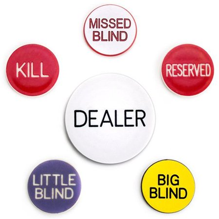 Dealer Button Set - Poker Button Set, Includes six buttons: Dealer, big and little blind, missed blind, kill and reserve By Brybelly