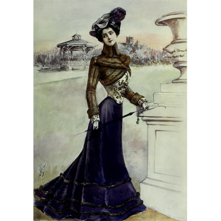 Latest Paris Fashions 1877 Elegant Costume pour LHiver Poster Print by Unknown