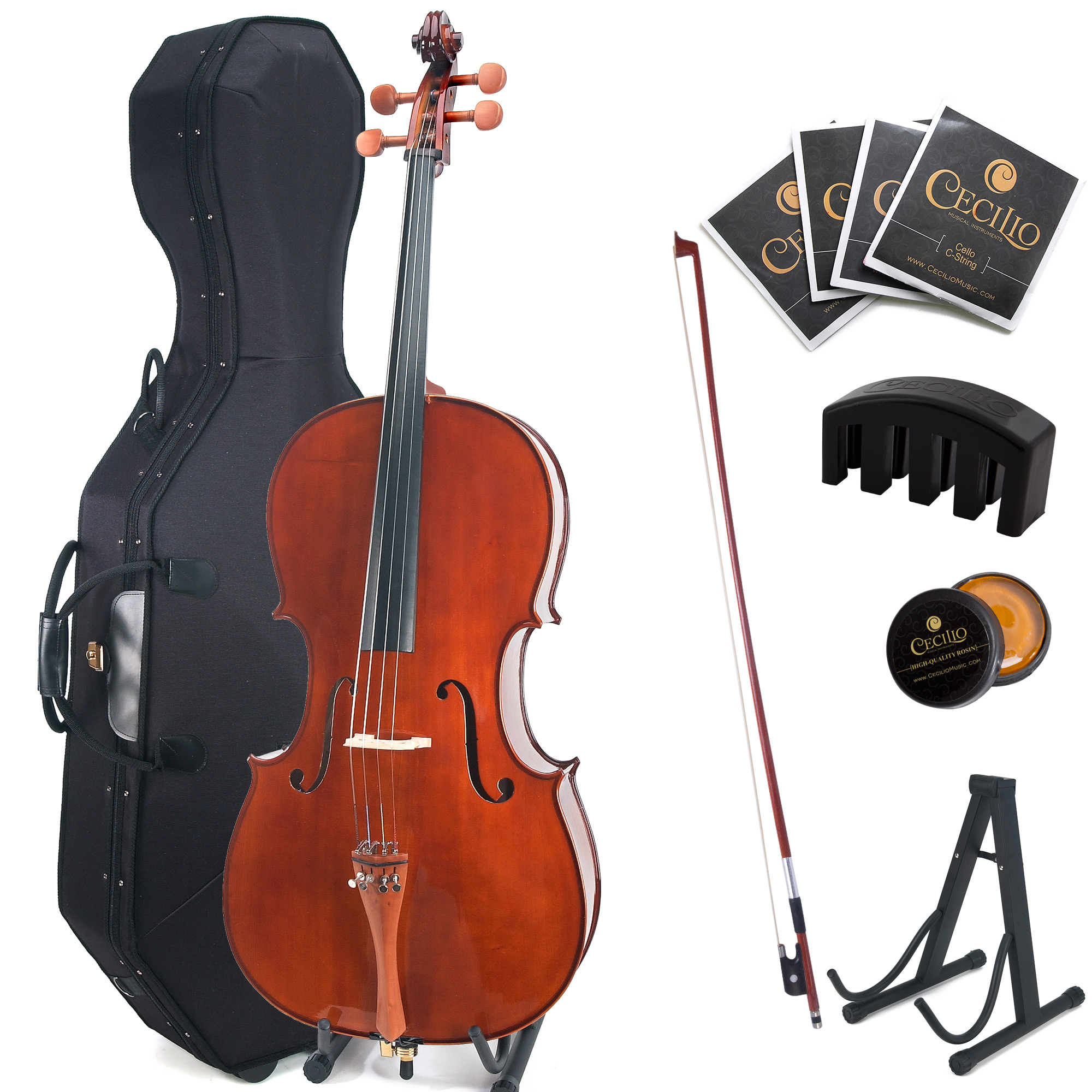 Cecilio 4 4 CCO-300 Solid Wood Cello with Hard and Soft Case, Cello Stand, Extra Strings,... by Cecilio Musical Instruments
