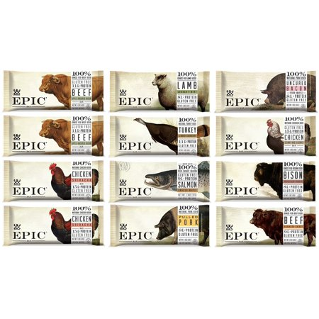 Epic Bars Variety 12 Pack - 100% Animal-Based Whole Protein, Best Kind of Jerky, Perfect For Paleo (Beef, Turkey, Salmon, Chicken, Bison, Lamb, Wild Boar)