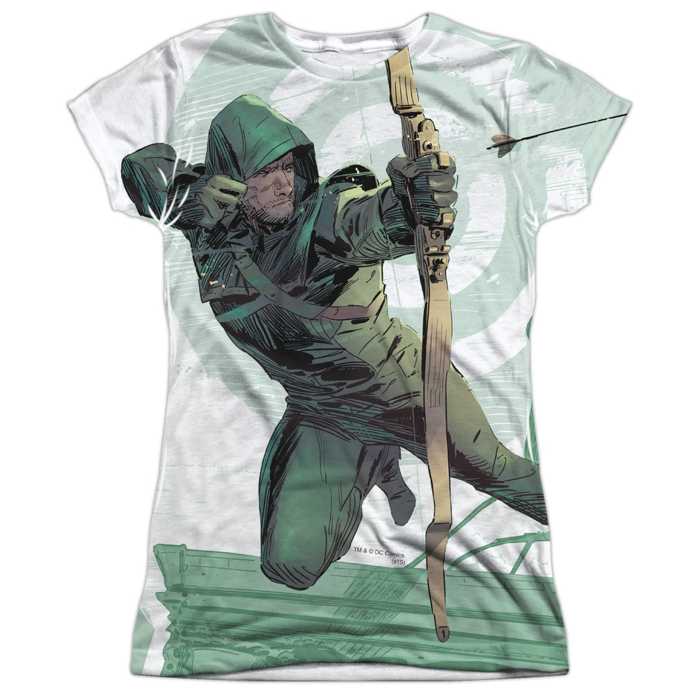 Arrow Group Green Arrow Comics City Bullseye Large Hero Juniors Front Print T-Shirt