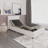 Signature Sleep Gold Power Adjustable Upholstered Bed Base/Foundation, Assembles in Minutes, Grey Linen, Twin XL