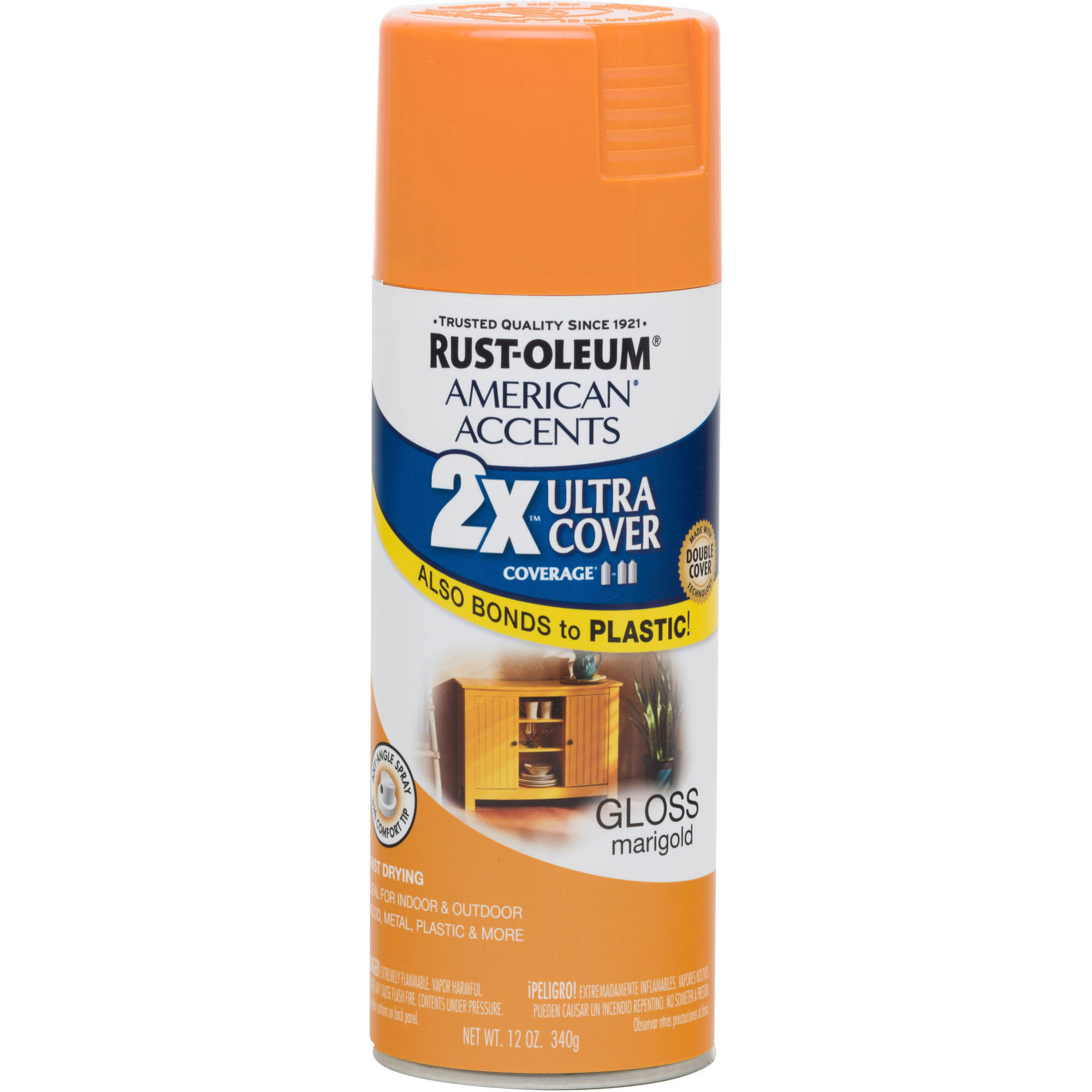 Rust-Oleum American Accents Ultra Cover 2X Gloss Marigold Spray Paint and Primer in 1, 12 oz
