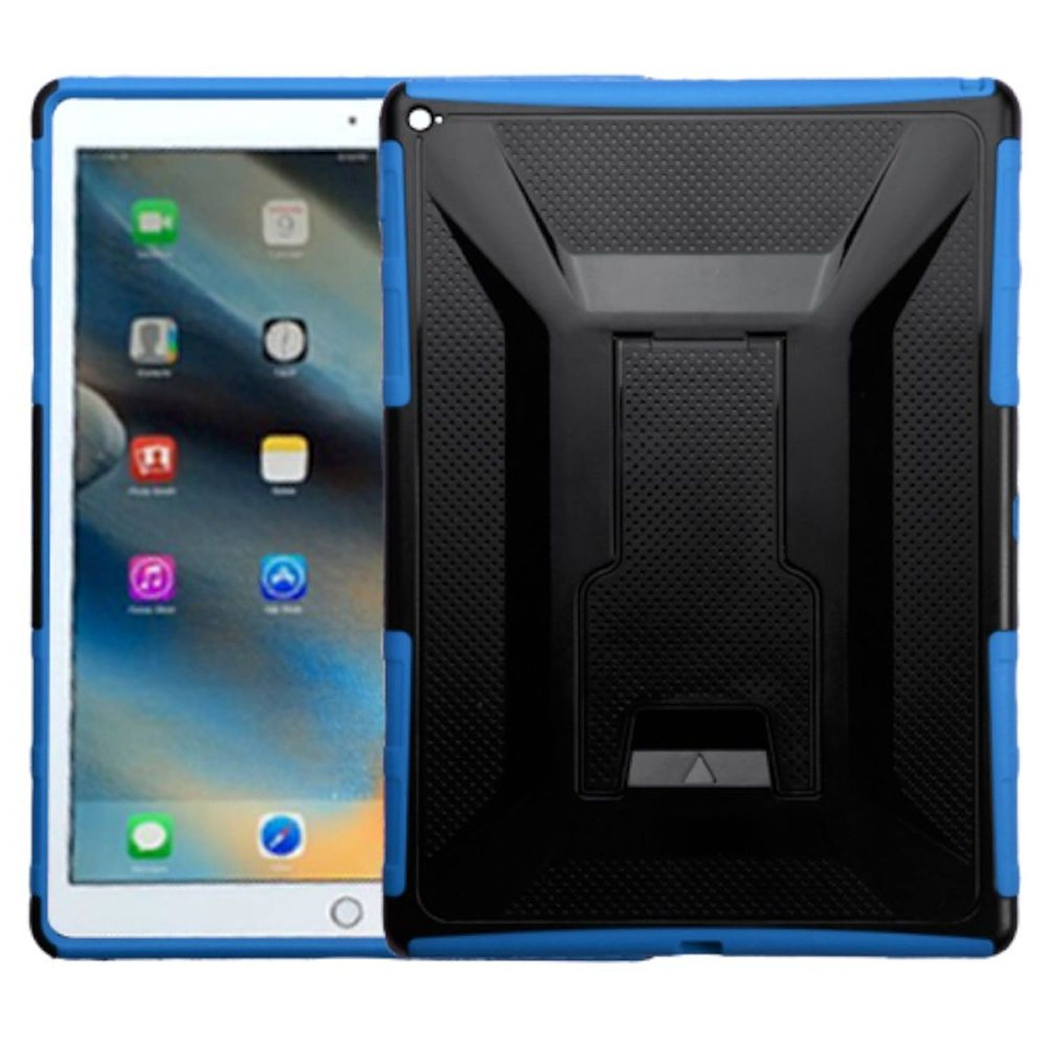 """Insten For iPad Pro 12.9"""" (2015) 2-Layer Full body Rugged Hybrid Protective Hard Plastic/Silicone Case with Stand -Black/Blue"""