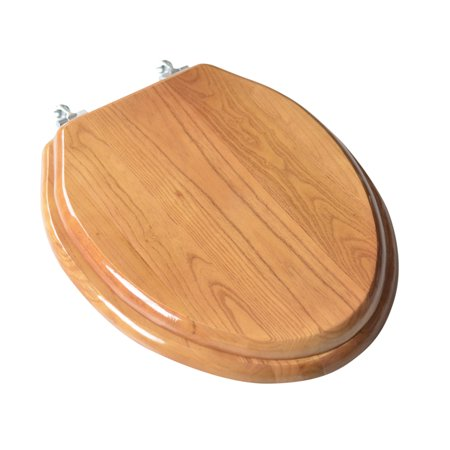 BathDecor Natural Red Oak Finish Designer Solid Elongated Oak Wood Toilet Seat with Chrome Hinges