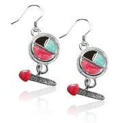 Whimsical Gifts 2641S-ER Eye Shadow & Brush Charm Earrings in Silver