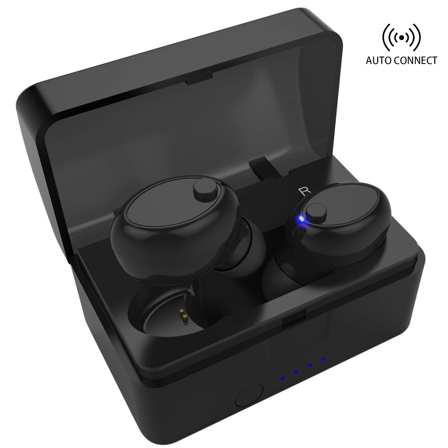 Wireless Earbuds, Bluetooth 5.0 Headphones Sports in-Ear TWS Stereo Mini Headset w/Mic IPX5 Waterproof Auto Pairing 20H Battery Portable Charging Case Noise Cancelling in Ear Earphones (New Upgraded)