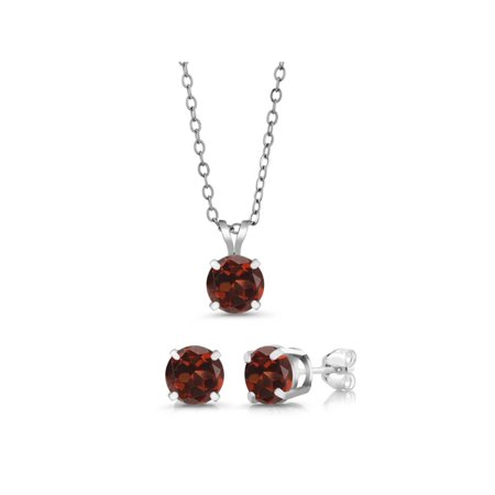 3.00 Ct Round 6mm Red Garnet 925 Sterling Silver Stud Pendant Earrings Set