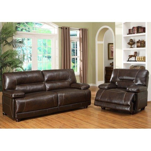 Abbyson Living Chandler Premium Italian Leather Sofa And Recliner Set In  Dark Brown