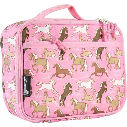 Horses in Pink Lunch Box w Zippered Front Pocket in Pink
