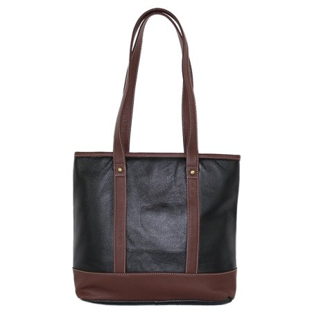 Concealed Carry Gun Purse - Doubled Handles Leather Tote by Roma Leathers (Black)