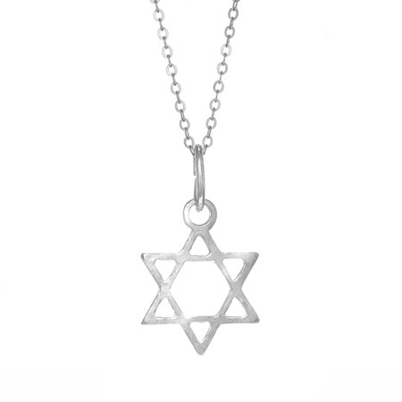 Sterling Silver Star Of David Charm Pendant Jewish Necklace