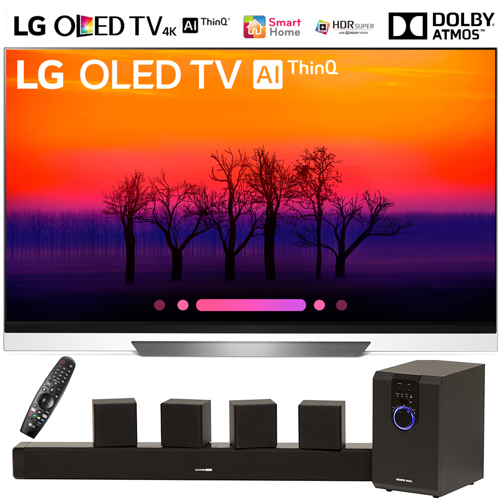"LG OLED65E8PUA 65"" Class E8 OLED 4K HDR AI Smart TV (2018 Model) with Sharper Image 5.1 Home Theater System w/ Subwoofer, Sound Bar & Satellite Speakers"