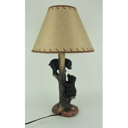2 Bear Cubs Playing On Tree Rustic Wildlife Table Lamp - image 3 of 4