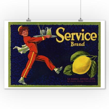Service Brand - La Habra, California - Citrus Crate Label (9x12 Art Print, Wall Decor Travel - City Of La Habra Jobs