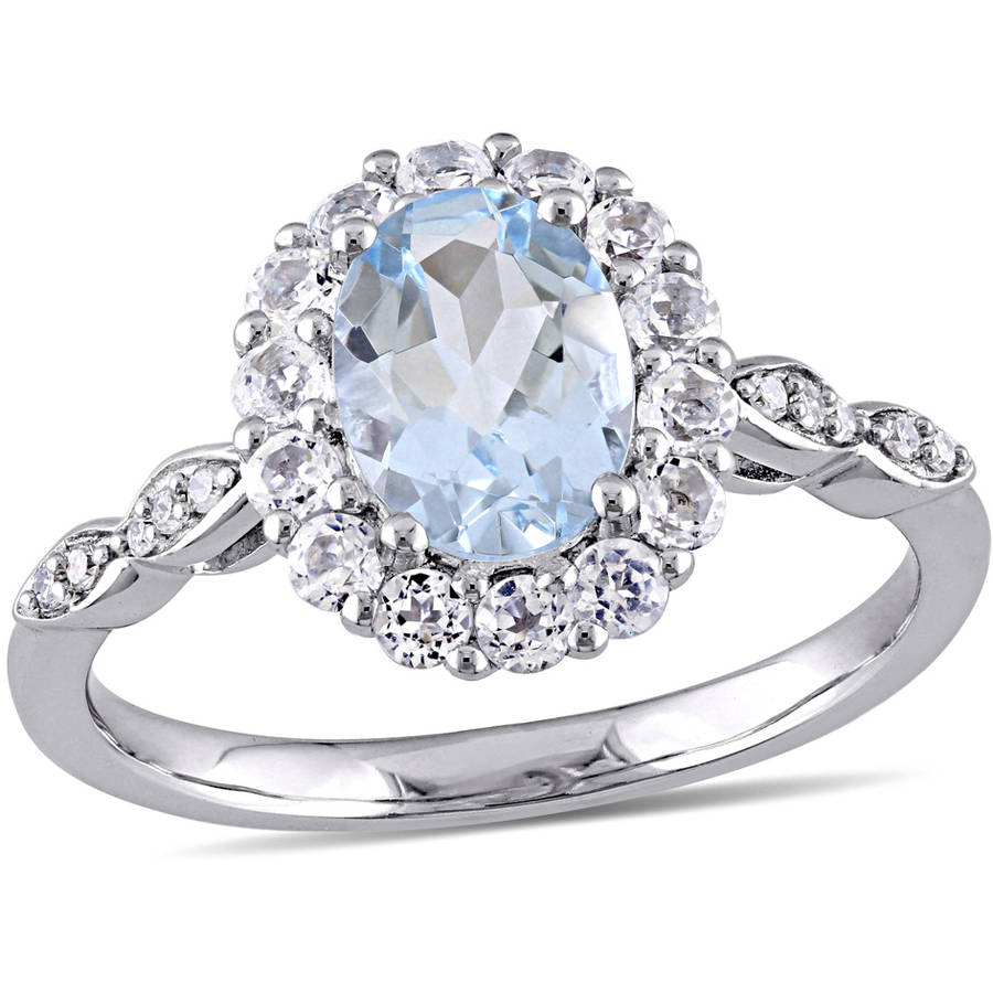 Tangelo 1-5 8 Carat T.G.W. Aquamarine, White Topaz and Diamond-Accent 14kt White Gold Vintage Ring by Tangelo