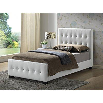white - twin size - modern headboard tufted design leather look upholstered bed