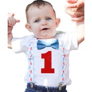 Noah's Boytique Vintage Airplane Theme First Birthday Party Cake Smash Outfit Blue Bow Red Number One 6-12 Months