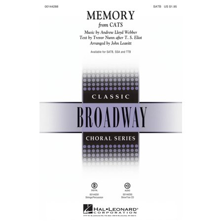 Hal Leonard Memory (from Cats) SATB arranged by John Leavitt