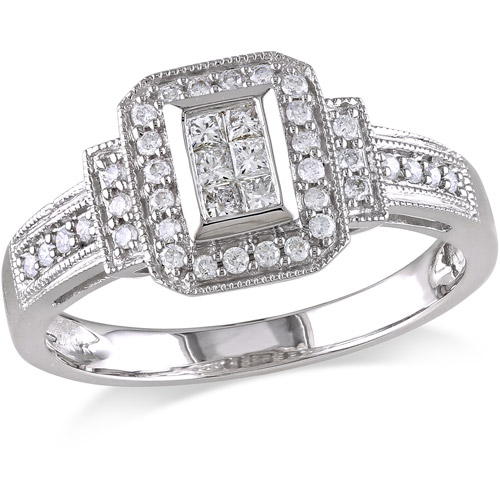 Miabella 1/3 Carat T.W. Princess and Round-Cut Diamond Engagement Ring in 14kt White Gold