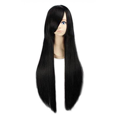 louise maelys womens 80cm long straight wig black anime c...