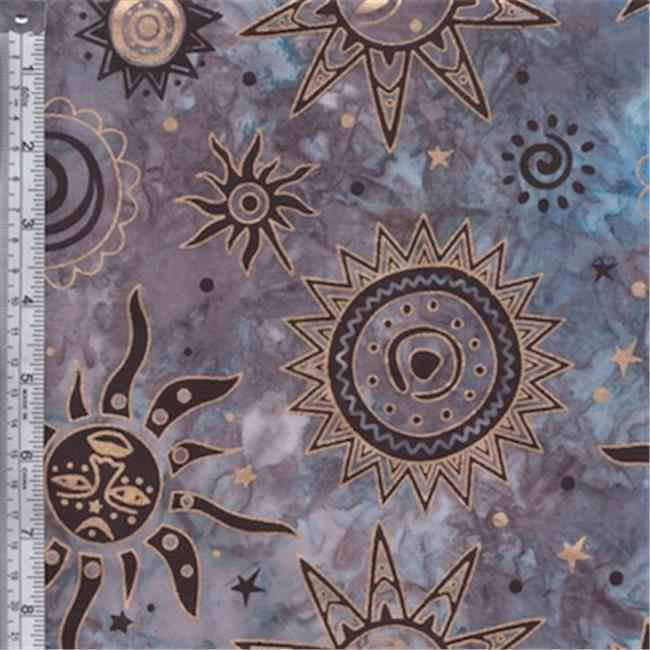 Textile Creations OY-153 Odyssey Fabric, Sun Black Gold On Blue, Grey, 15 yd.