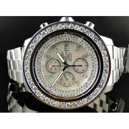 Breitling Breitling A13370 Super Avenger Stainless Steel with Diamonds (9 Ct) Mens Breitling A13370 Super Avenger XL 53MM Stainless Steel with Diamonds 9 Ct