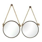 Set of 2 Mirrors (Diameter 24-Inch and 20-Inch) on Rope - Round