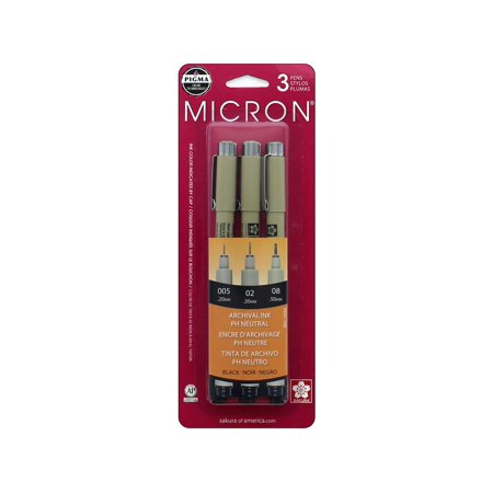 Pigma Micron Pens Assorted 3/Pkg-Black 240 Pin Micron Chip
