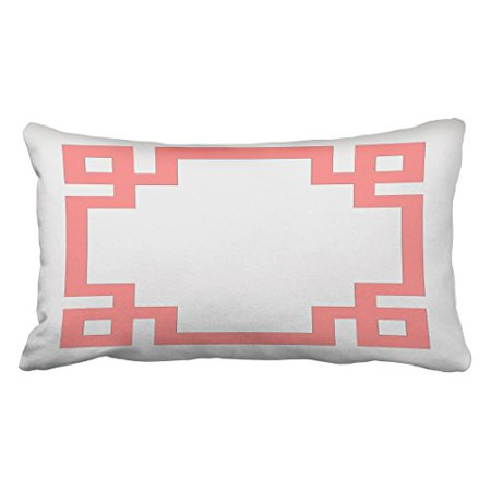Winhome Decorative White And C Pink Greek Key Border Pillow Home Sofa Polyester Throw