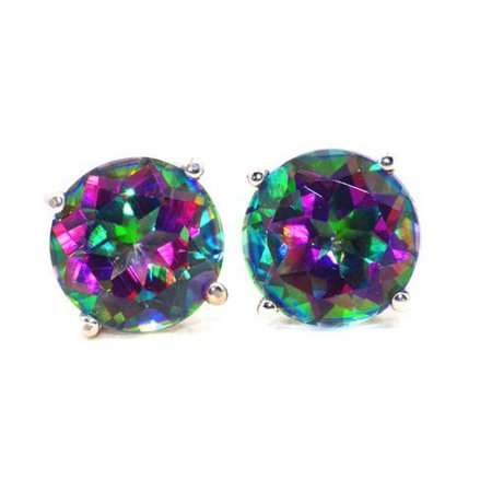 2 Ct Natural Mystic Topaz Round Stud Earrings 14Kt White Gold