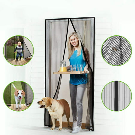 Magnetic Screen Door Mesh Curtain Patio Door Mesh with Full Frame Hook&Loop Fits Door Size up to 36