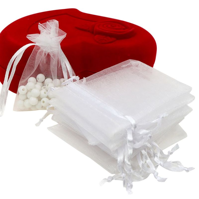 100pcs Drawstring Organza Gift Bags 7x9cm Transparent Jewelry Lipstick Pouches Baby Shower Party Wedding Holidays Favor Seashell Candy Gift Bags