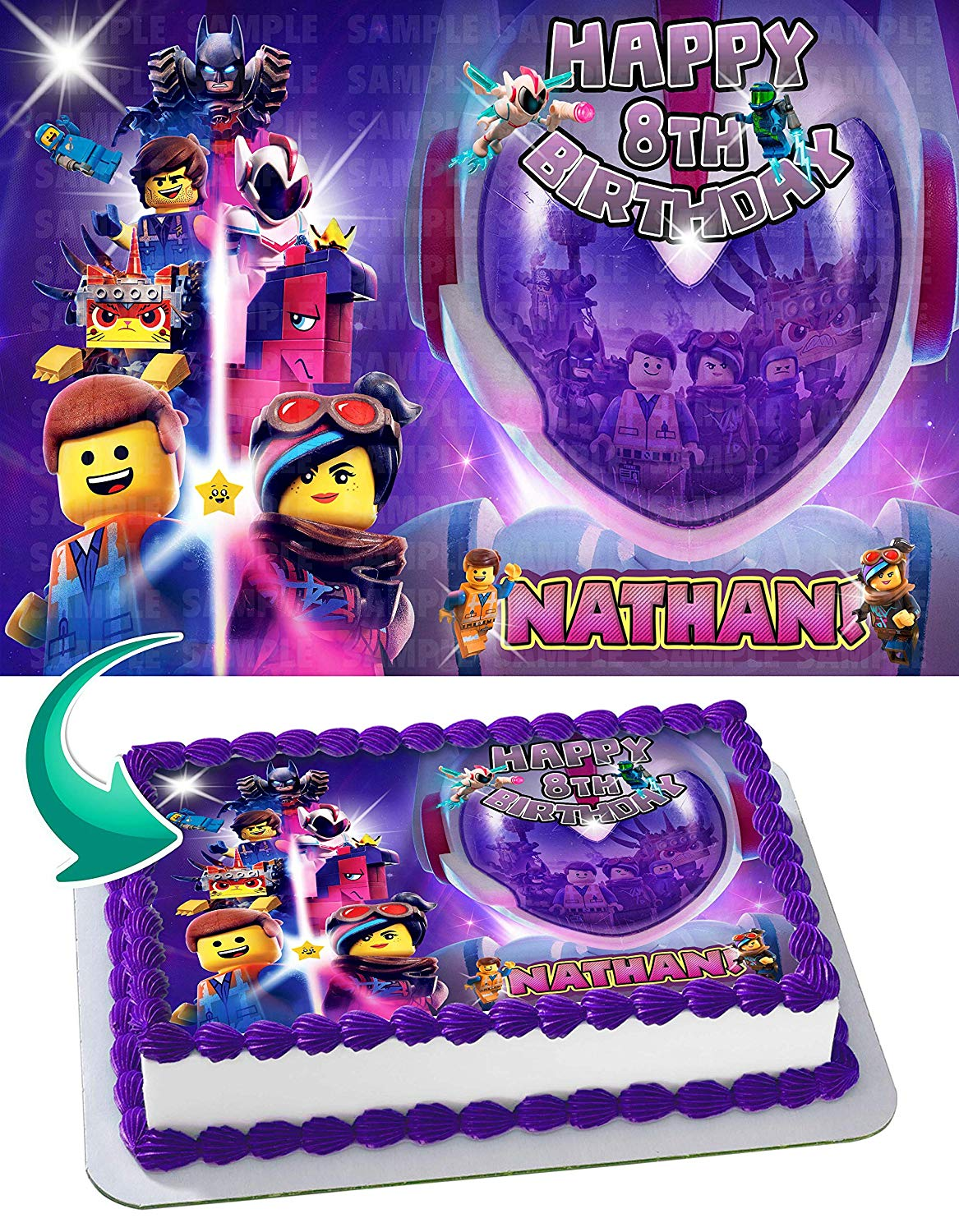 Marvelous Lego Movie 2 Edible Cake Image Topper Personalized Birthday Party Birthday Cards Printable Trancafe Filternl
