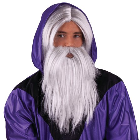 Wizard Wig and Beard - Grey (Funny Wig)