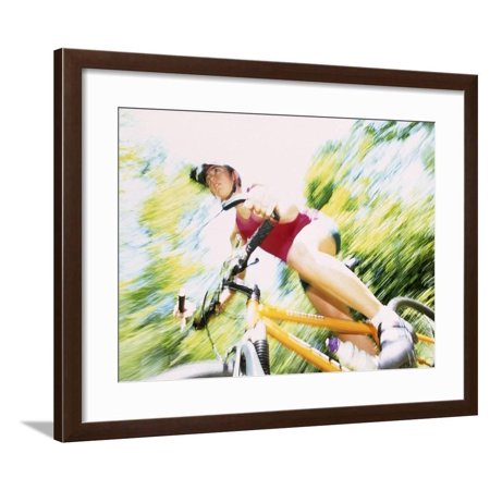 Action of Female Cyclist on Mountain Bike Riding Throught the Woods, Rutland, Vermont, USA Framed Print Wall Art By Chris Trotman Mountain Bike Action Magazine