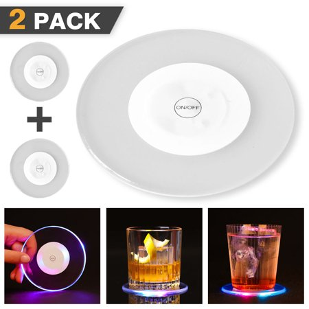 Flash Cocktail ([2 Pack] Crystal Ultra-thin LED Light Coaster Cocktail Coaster,iClover LED Flash Light Cup Mat Acrylic Wine Coaster Lights,Ideal for Bar Club Restaurant Decor, White)