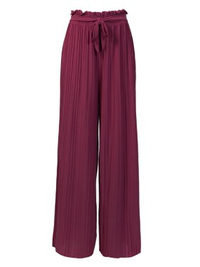 Made by Olivia Women's Ribbon Tie Chiffon Loose Pleated Wide Leg Palazzo Pants Navy Blue ONE