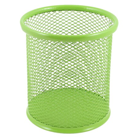 Unique Bargains Green Metal Mesh Cylindrical Shaped Pen Pencil Holder Container