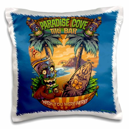 3dRose Tiki guy hanging out at the beach with a surfboard - Pillow Case, 16 by 16-inch ()