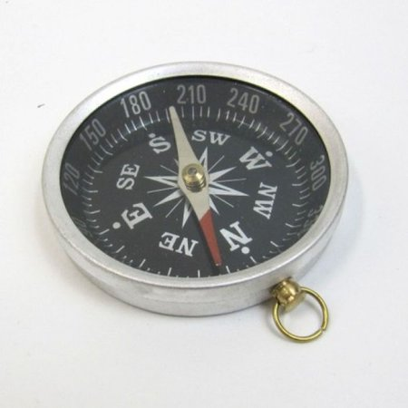 - India Overseas Trading AL48852A - Aluminum Flat Desktop Compass, Black Dial, Silver Finish