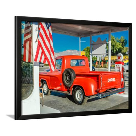 Red Dodge Pickup truck parked in front of vintage gas station in Santa Paula, California Framed Print Wall Art