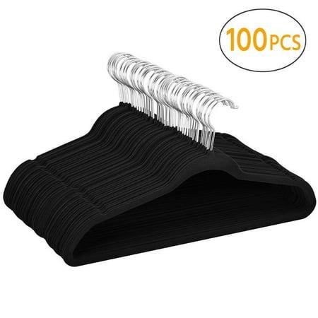 Mllieroo 100Pcs Velvet Hanger Set Non-Slip Ultra Thin Hanger with 360 Swivel Hook Hangers, (10 Inch Ape Hangers For Ultra Classic)