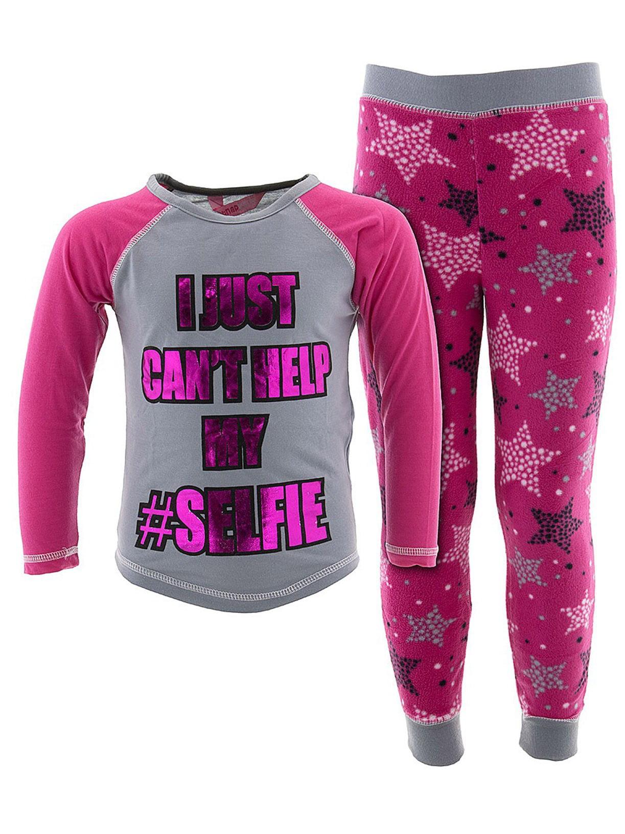 Katnap Kids' Girls Can't Help My Selfie Gray Pajamas