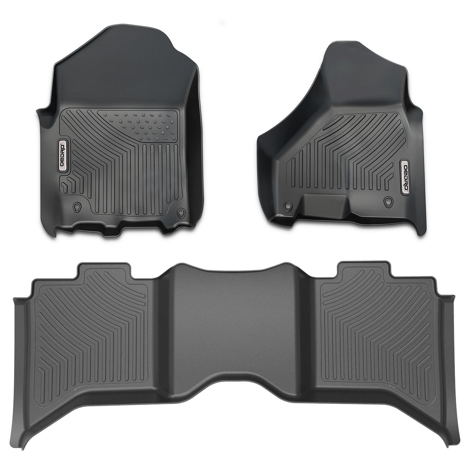Floor Mats for 2012-2016 Dodge Ram 1500 Crew Cab, Unique Black TPE All-Weather Guard Includes 1st and 2nd Row: Front, Rear, Full Set Liners