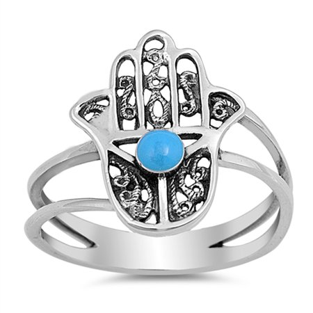 Hand of God Simulated Turquoise Filigree Ring .925 Sterling Silver Hamsa Band Size 8 (Cancer Hand Bands)