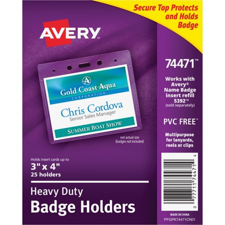 Buddy 40 Pocket Badge Holder - Avery Heavy-Duty Clear Badge Holders, Fits Inserts up to 3