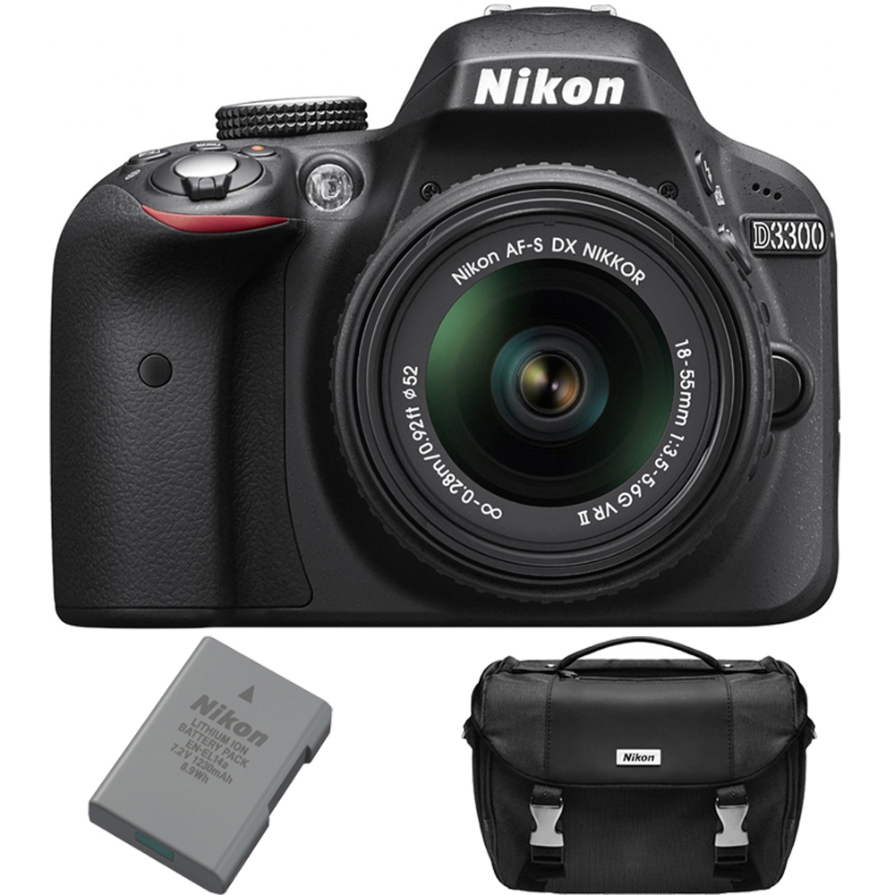Nikon D3300 DSLR 24.2 MP HD 1080p Camera Bundle w/ 18-55mm Lens, Extra Battery and Case
