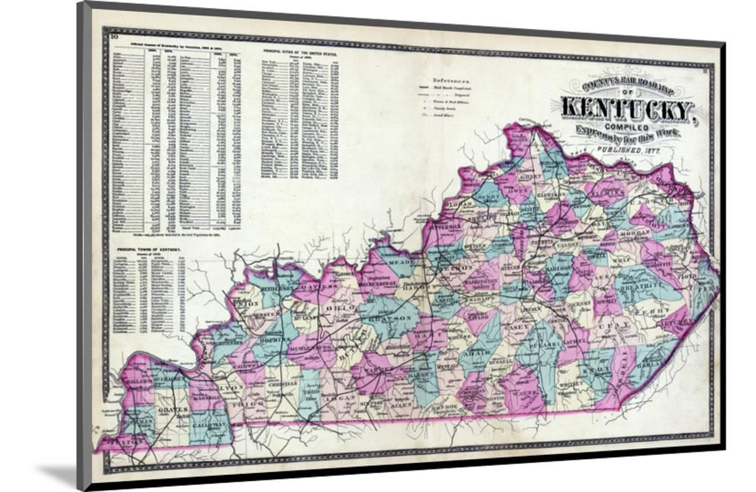 1877, Kentucky County and Rail Road Map, Kentucky, United States ...